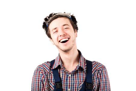 housepainter: Happy housepainter looking at camera and laughing