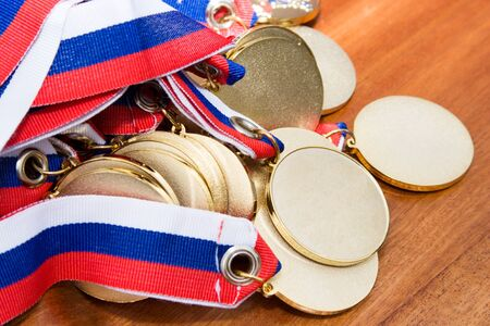 Gold medals  before handing to champions.