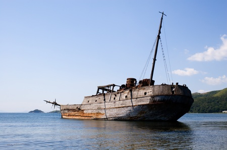 ship wreck: abandoned wooden ship Stock Photo