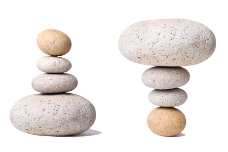 A Stack of Stones  with an antipode on a white Background - a nice Zen-like Background