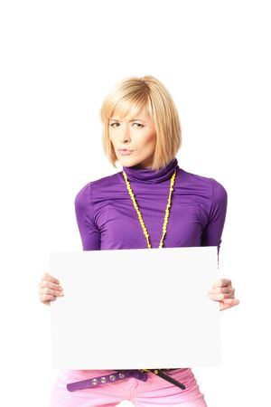 stilish: Stilish girl holding a blank sign Stock Photo