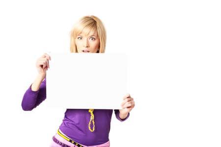 stilish: Stylish girl holding a blank sign