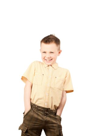 A close-up shot of a boy laughing, isolated on a white Stock Photo - 12903193