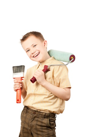 Little housepainter looking at camera and laughing photo