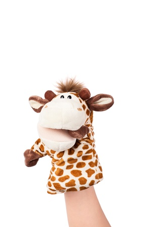 Hand puppet of giraffe isolated on white, confused emotion.  Stock Photo - 12903004
