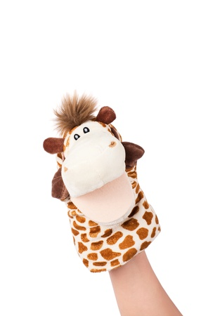 Hand puppet of giraffe isolated on white, happy emotion.  Standard-Bild