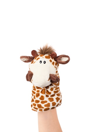 Hand puppet of giraffe isolated on white, confused emotion   Stock Photo - 12932949