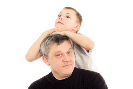 Grandfather and Grandson on a white background Stock Photo - 14579633