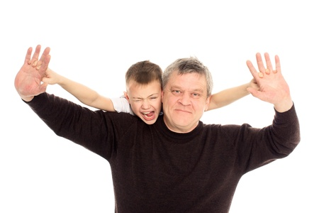 Grandfather and Grandson on a white background Stock Photo