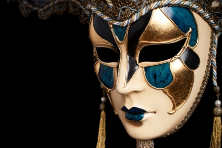 theatre masks: Carnival in Venice image with ample copyspace. Isolated On black Stock Photo