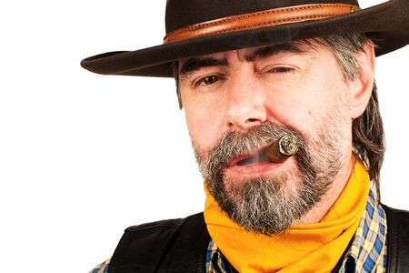 american cowboy smoking cigar on white background photo