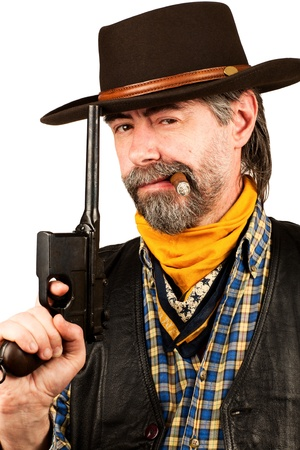 american cowboy with revolver, smoking cigar on white background photo
