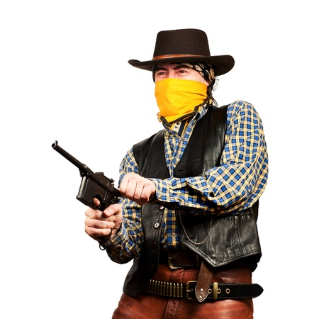 bad guy robs bank on white square background Stock Photo