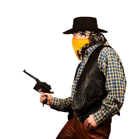 bank western: bad guy robs bank on white square background Stock Photo