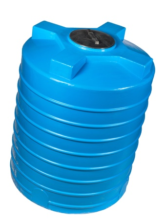 Big polyethylene container of 2000 litres. Used for accumulation, storage and transportation of not only technical or drinking water, but also a variety of dry and liquid food products, as well as oils and chemicals. Stock Photo