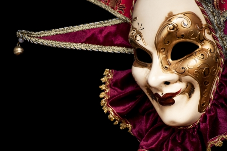 Carnival in Venice image with ample copyspace. Isolated On black Standard-Bild