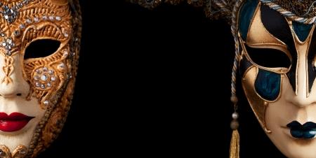 carnaval venise: Carnaval de Venise image avec un grand atelier. Isol� sur fond noir