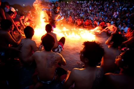 BALI - DECEMBER 30: traditional Balinese Kecak and Fire dance at Uluwatu Temple  on DECEMBER 30, 2012, Bali, Indonesia