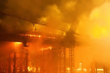 billow: fire at bridge construction site