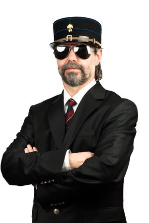 stilish: Stilish man in  gendarme stile  hat and in sunglasses