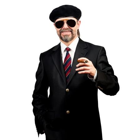 stilish: Stilish man in beret and in sunglasses holding cigar
