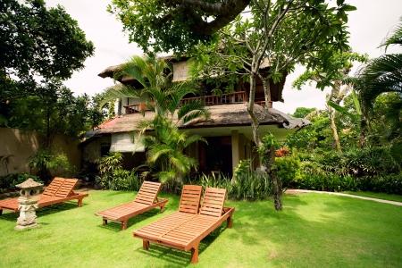 Lounge Chairs near hotel. Bali, Indonesia