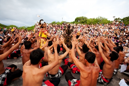 BALI - DECEMBER 30  traditional Balinese Kecak and Fire dance at Uluwatu Temple  on DECEMBER 30, 2012, Bali, Indonesia