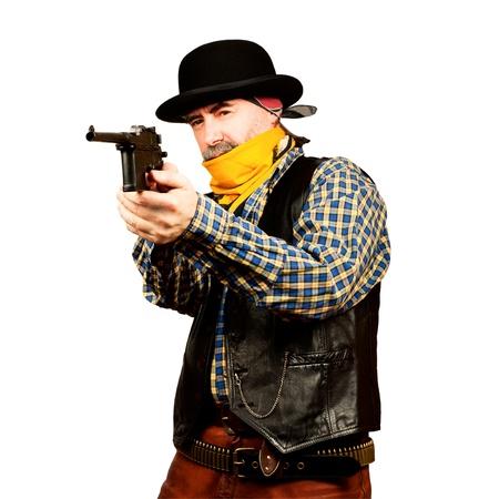 bad guy robs bank on white square background 版權商用圖片