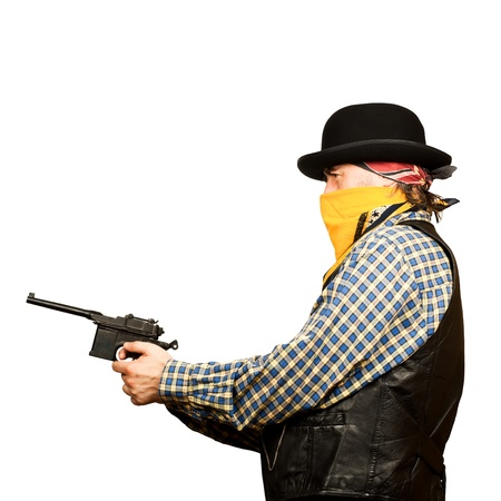 bad guy robs bank on white square background Stock Photo - 19822038