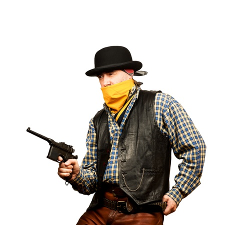 bad guy robs bank on white square background Stock Photo - 19822075