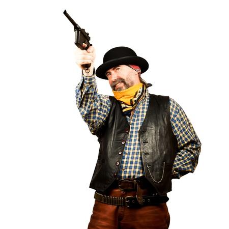 bandana western: bad guy robs bank on white square background Stock Photo