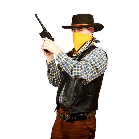 american cowboy with revolver, on white background 版權商用圖片