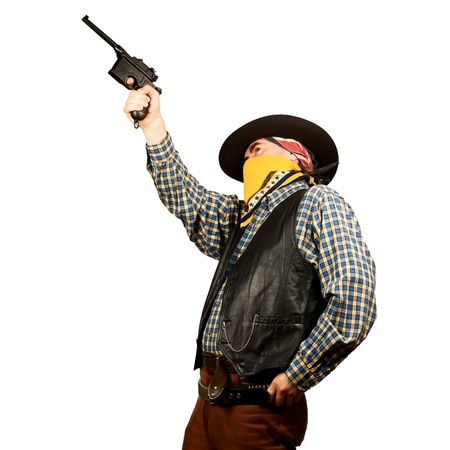 american cowboy with revolver, on white background Standard-Bild
