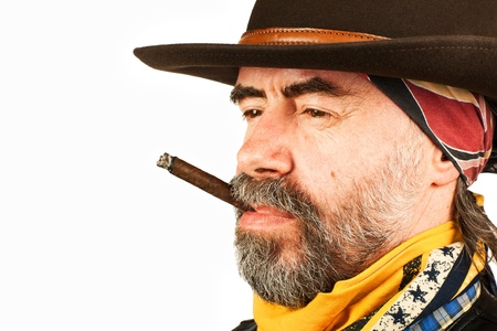 american cowboy, smoking cigar on white background Standard-Bild
