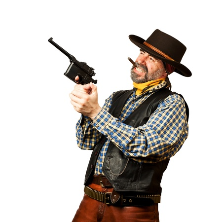 bad guy robs bank on white square background Stock Photo - 19822216