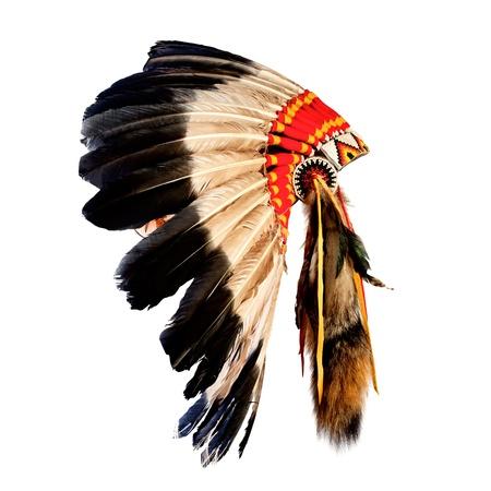 Native American Indian szef stroik (indian maskotka szef, indian tribal stroik, indian nakrycia głowy) Zdjęcie Seryjne