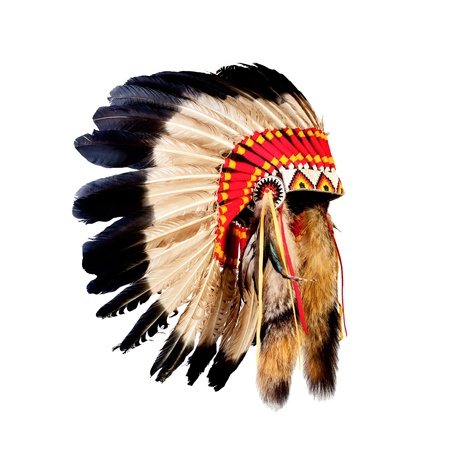 native american indian chief headdress (indian chief mascot, indian tribal headdress, indian headdress) photo