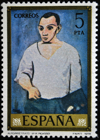 postage stamp: Picasso, self portrait, postage stamp