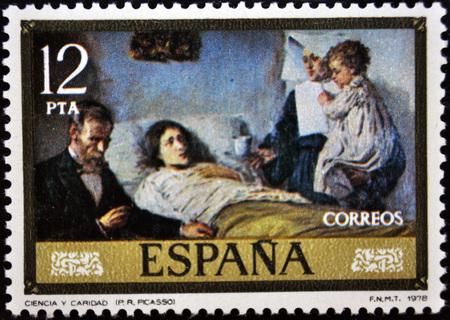 postage stamp: Picasso, la ciencia y la caridad, sello postal Editorial