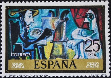 picasso: Picasso, the painter and the model, postage stamp