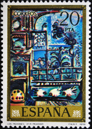 postage stamp: Picasso, The Palomos, postage stamp, 1978