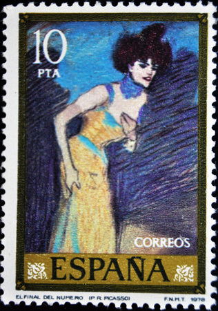 showgirl: Pablo Picasso, the end of the number, postage stamp, Editorial