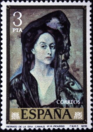 pablo picasso: Pablo Picasso, Portrait of Mrs. Canals, postage stamp, Spain 1979