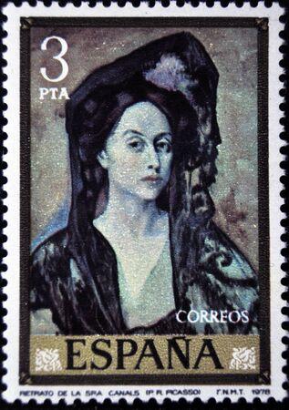 mrs: Pablo Picasso, Retrato de la se�ora Canals, sello postal, Espa�a 1979 Editorial