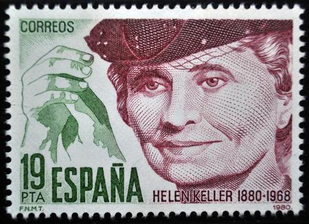 postage stamp: Helen Keller, sello postal, España 1980