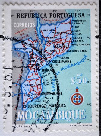 postage: Portuguese Republic, Moçambique, postage stamp Editorial