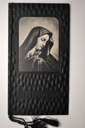 pious stamp, Spain, ca 1900, mortuary reminder
