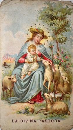 pious stamp, Spain ca 1920, Holy Shepherdess Editorial