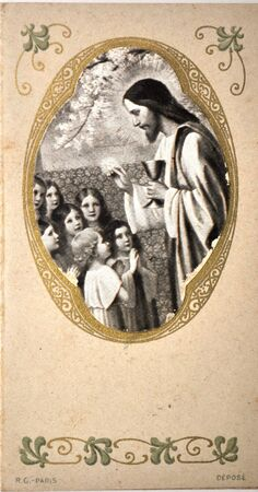 pious: pious stamp, jesus and children, Spain, ca 1904 Editorial