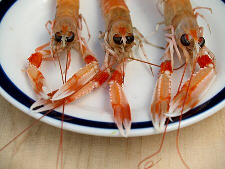 un cook: three crawfish on a plate